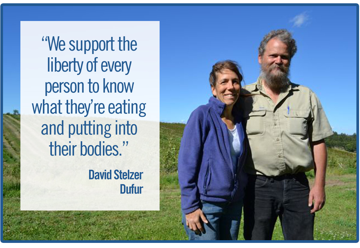 Dave Stelzer in Durfur said: We support the liberty of every person to know what they're eating and putting into their bodies.