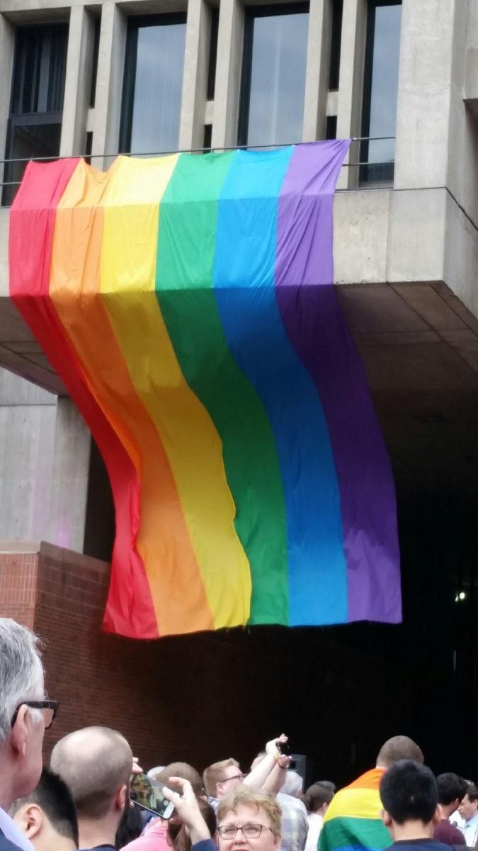 Rainbow flag on Boston City Hall