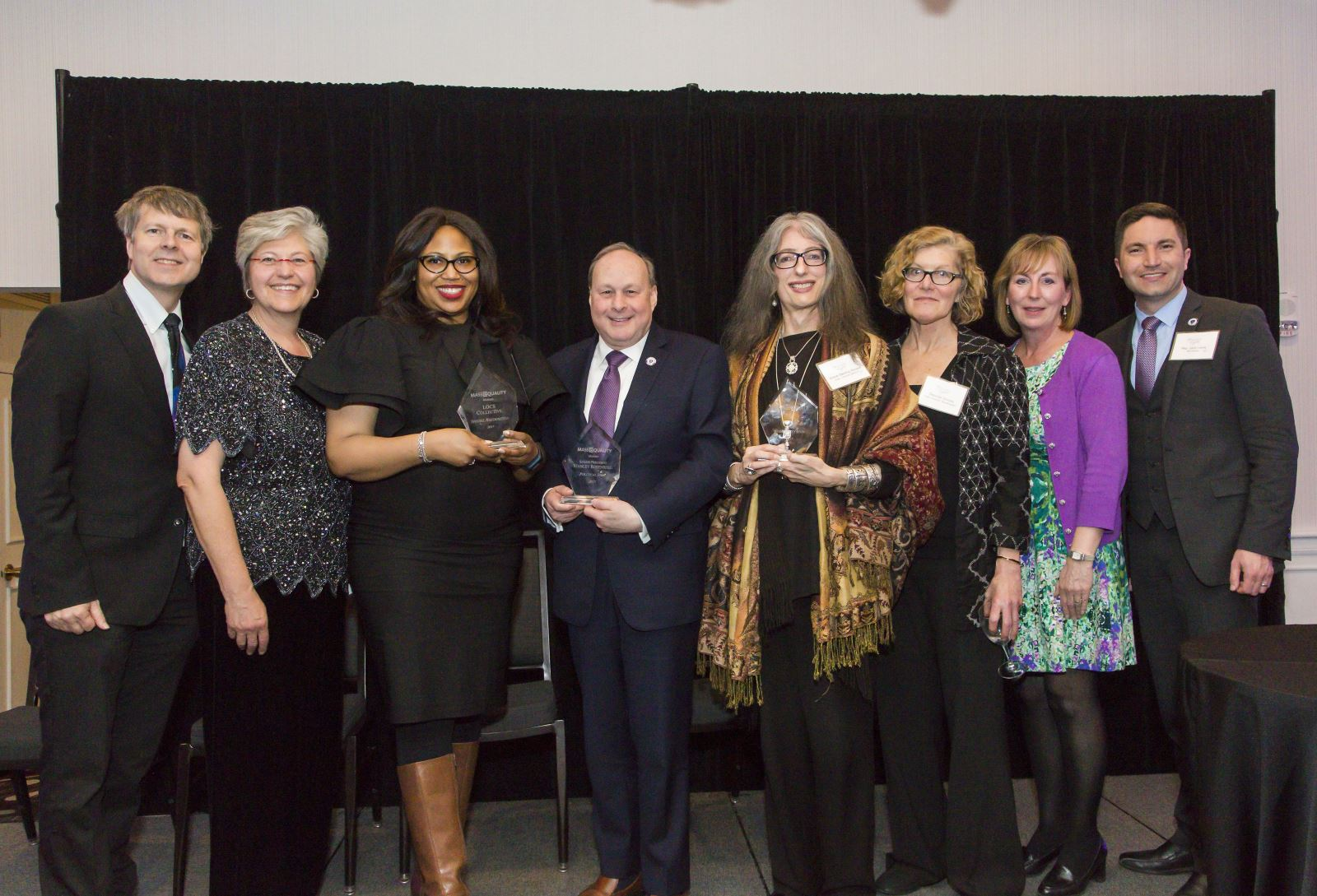 The 2017 Icon Award winners stand with legislators and MassEquality officers