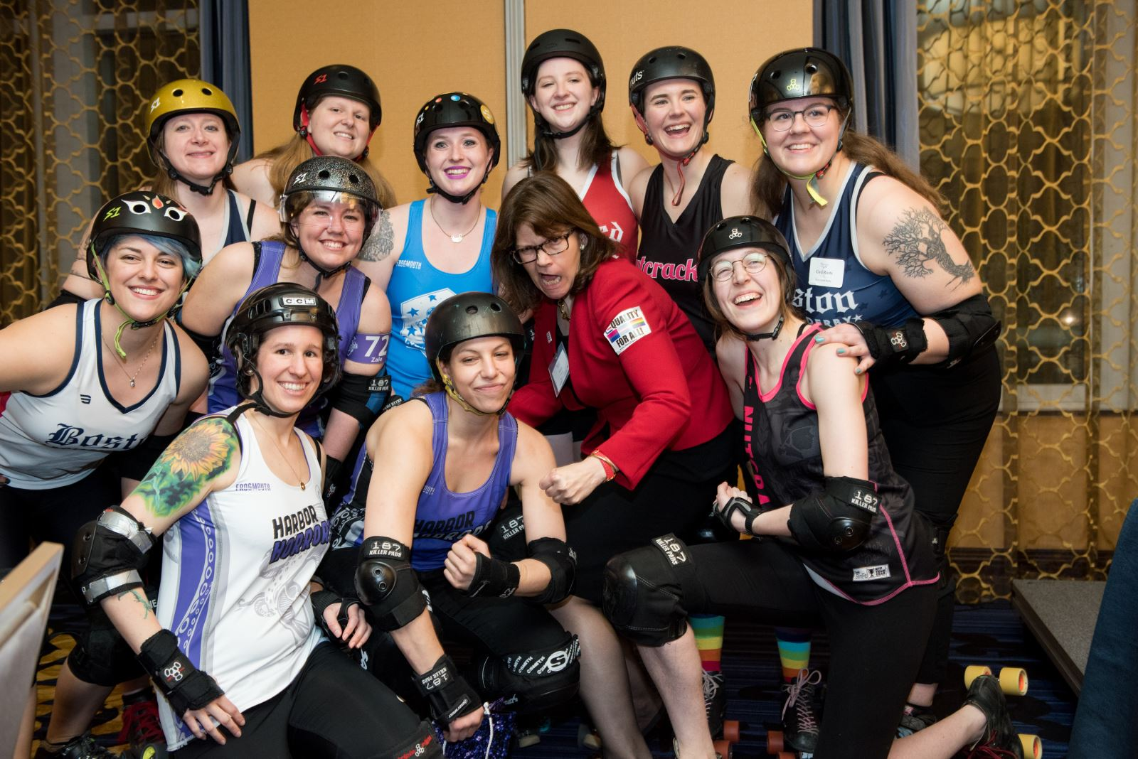 Members of Boston Roller Derby with MassEquality Ed. Fund Board member Mary Yntema