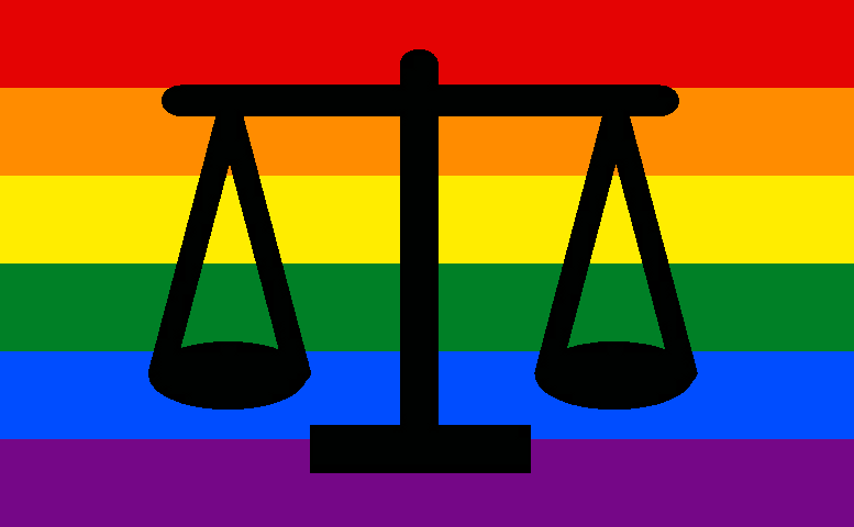 Black balance scales against a rainbow-striped background