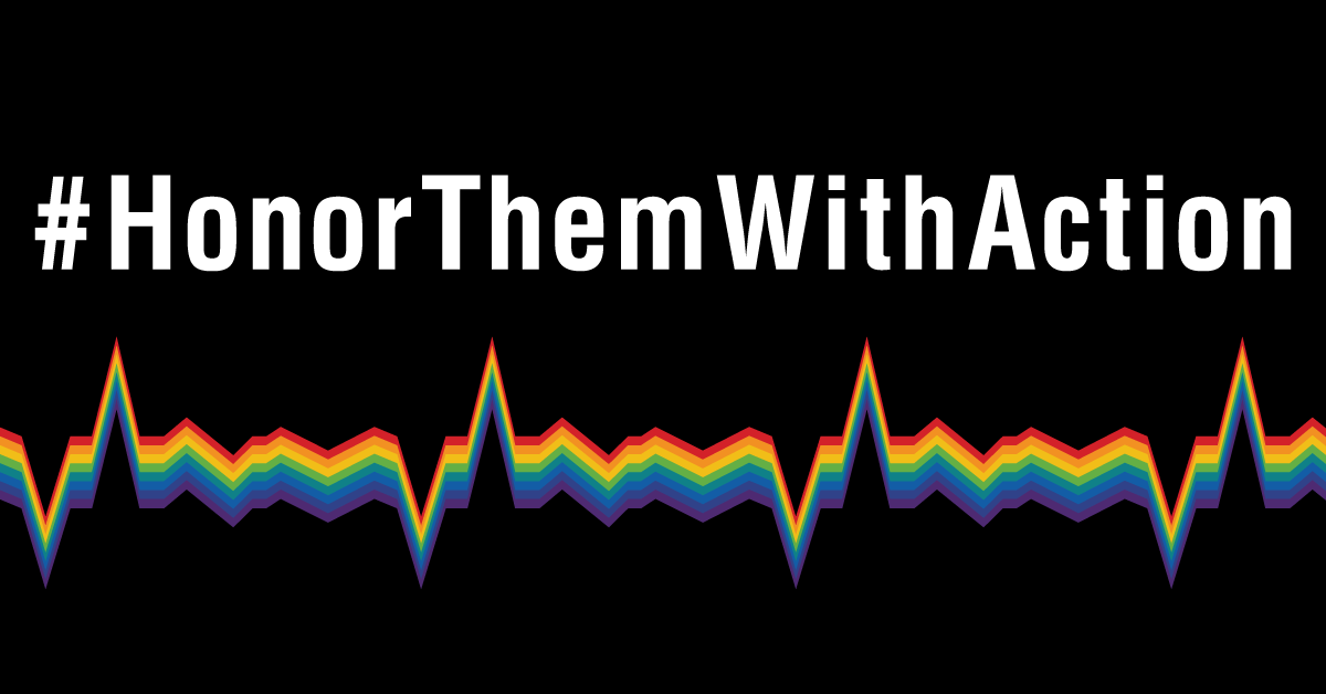 #HonorThemWithAction in white letters on a black background, above a heartbeat graphic in rainbow colors