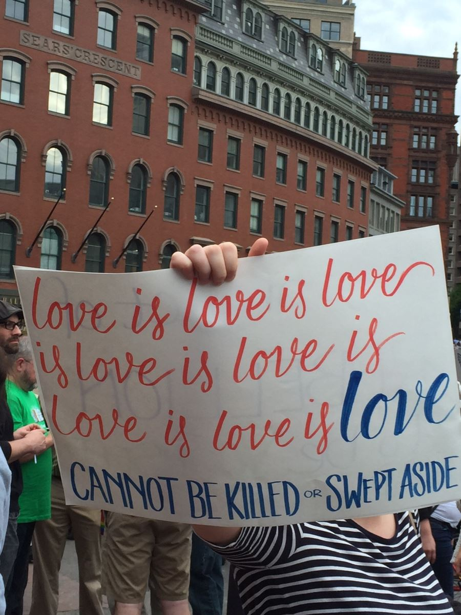 """Person holding a sign that reads, """"love is love is love is love is love is love is love is love Cannot be killed or swept aside"""""""