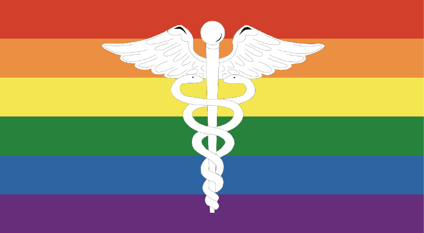 White medical symbol against a rainbow flag background