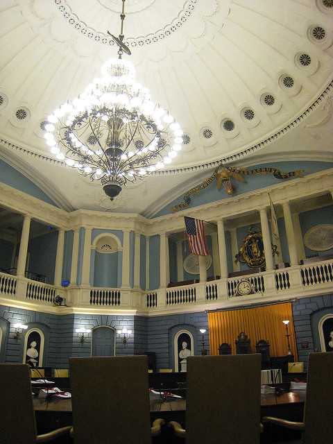Photo of the Senate Chamber in the Massachusetts State House