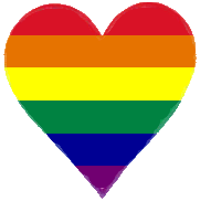 Heart with horizontal rainbow stripes