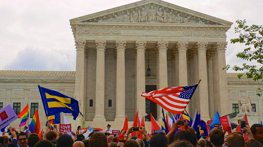 Crowd gathered outside the Supreme Court waiting to hear the Obergefell decision, 6/26/15