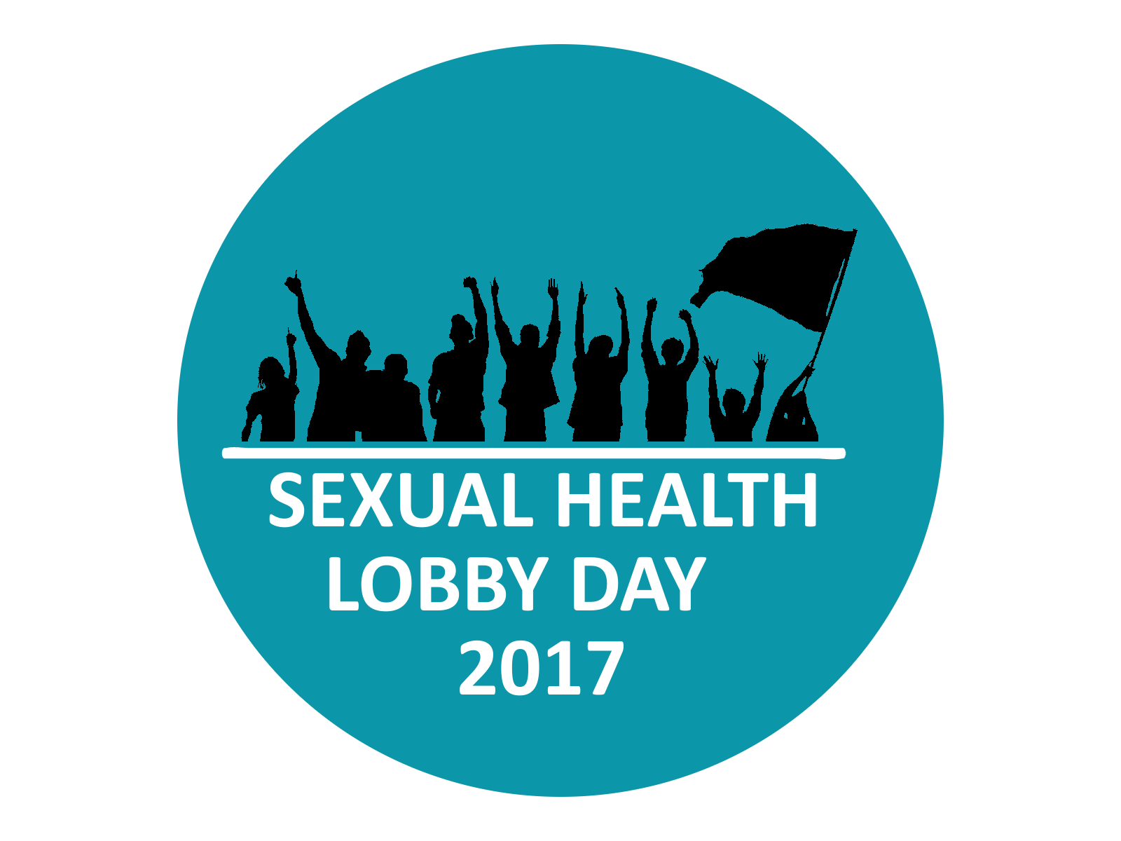 "Blue circle with outlines of cheering people above the words ""Sexual Health Lobby Day 2017"""