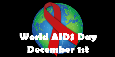 "A globe against a black background, overlaid with a red HIV/AIDS awareness ribbon and the words ""World AIDS Day December 1st"""