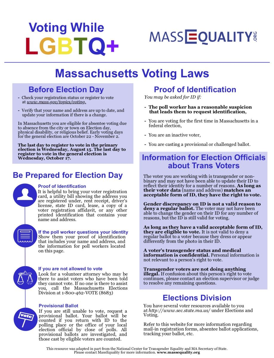 "MassEquality's ""Voting While LGBTQ+"" flyer. Click here to download (PDF)."