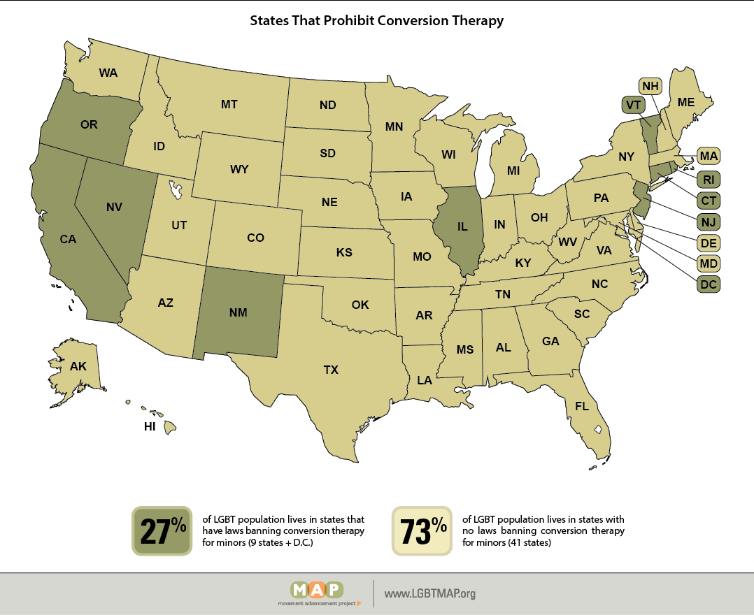 U.S. map showing states that have passed conversion therapy ban laws.