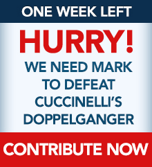 One week left. Hurry! We need Mark to defeat Cuccinelli's doppelganger. Contribute now.