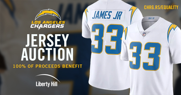 Signed Chargers Game Worn Jersey on Auction to support Liberty Hill